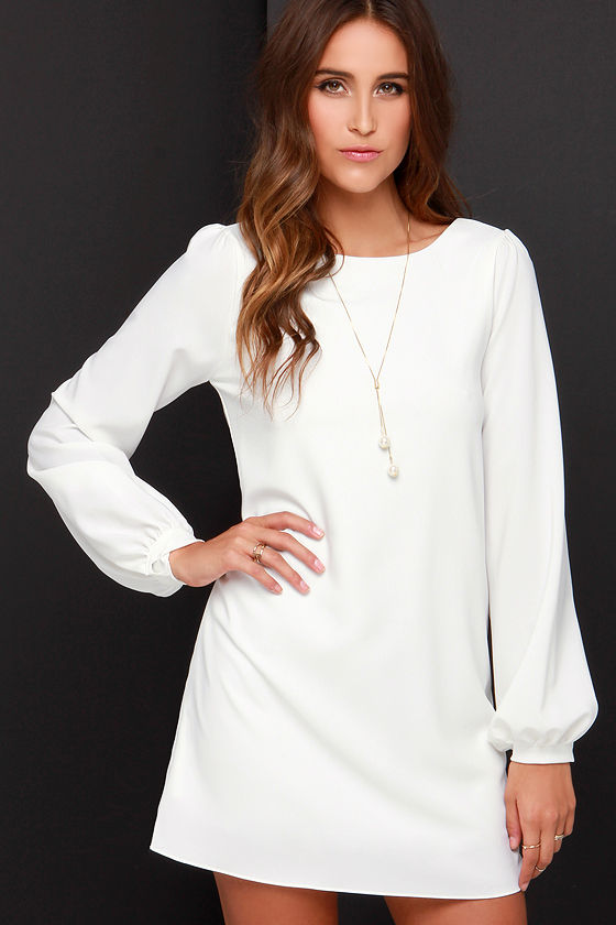 Cute Ivory Dress - Shift Dress - Long Sleeve Dress - $38.00