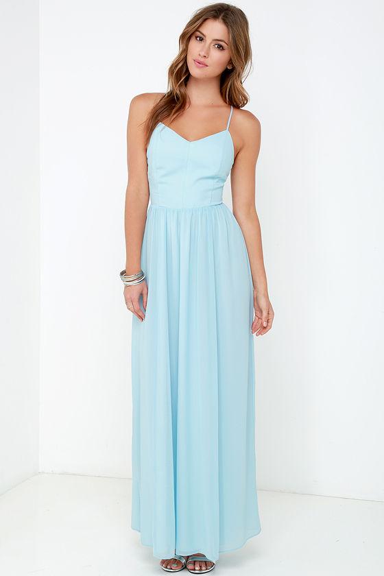Light sky blue maxi dress