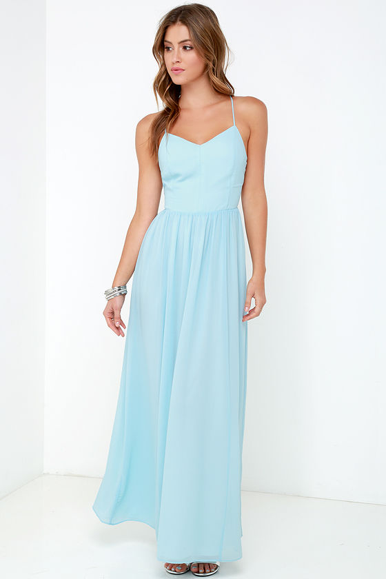 477cae9c232 Lovely Blue Dress - Chiffon Dress - Blue Maxi Dress -  112.00