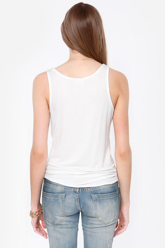 Lucy Love The Tie Cream Tank Top at Lulus.com!
