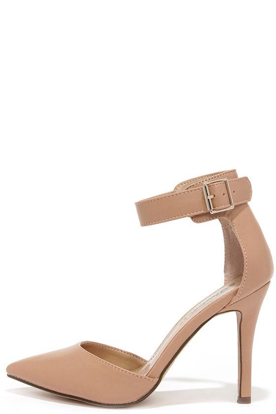 Cute Ankle Strap Heels - Nude Heels - Pointed Heels - $28.00