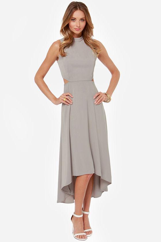 Beautiful Grey Dress High Low Dress Midi Dress 60 00