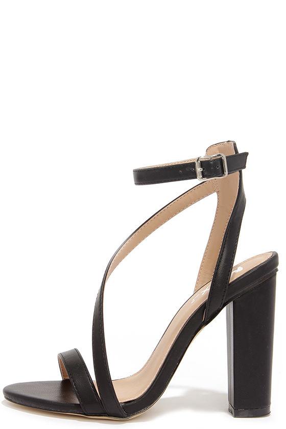 Chic Black Heels - Ankle Strap Heels - Block Heels - $38.00