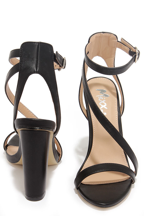 8816fb3d7959 Chic Black Heels - Ankle Strap Heels - Block Heels -  38.00