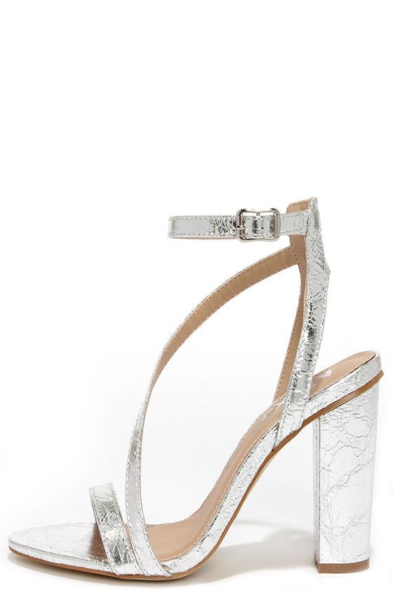 Chic Silver Heels - Ankle Strap Heels - Block Heels - $38.00
