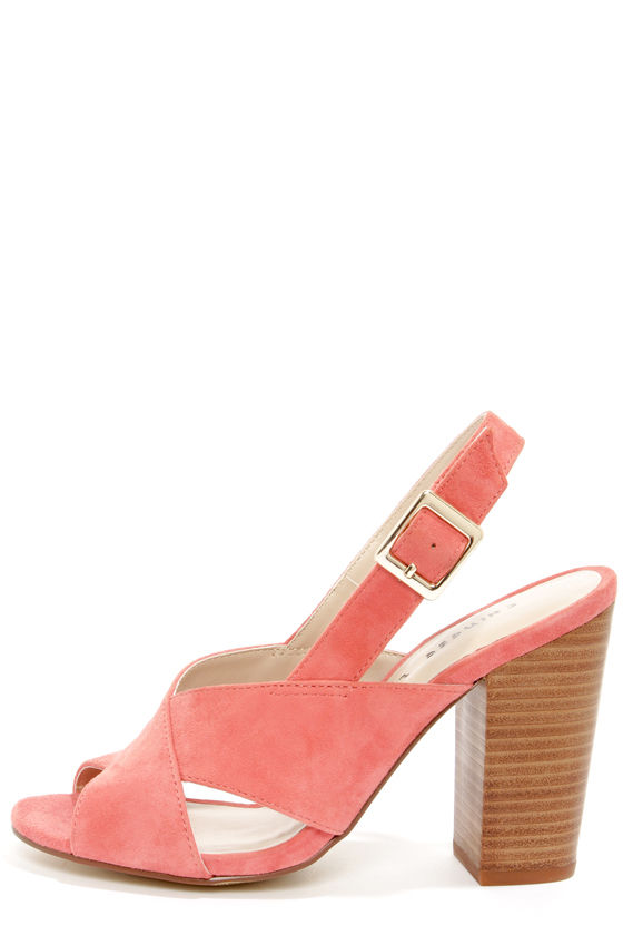Cute Coral Heels - High Heel Sandals - Coral Shoes - Slingback Shoes -  $79.00