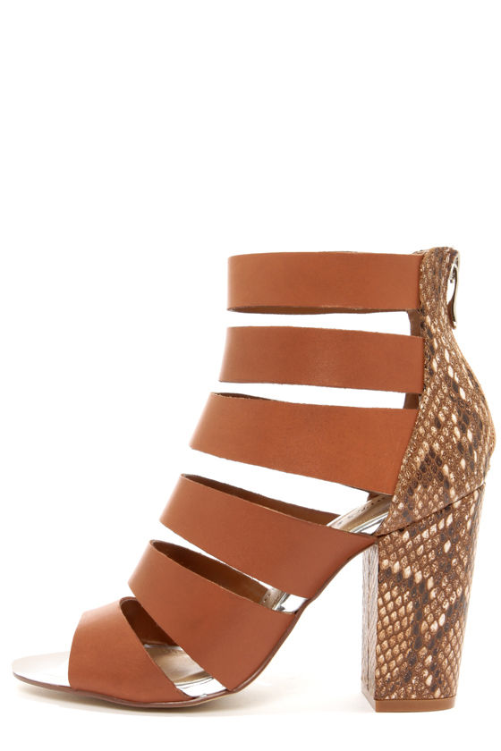 Chinese Laundry Bonafied Hazelnut Snake Print High Heel Sandals at Lulus.com!