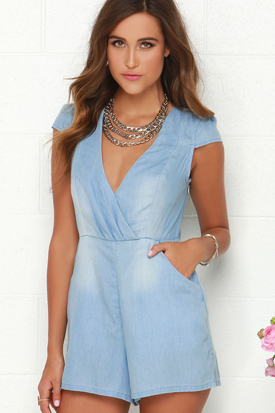 cff5921d29b89 Mink Pink Somewhere in Time Romper - Chambray Romper - Blue Romper -  71.00