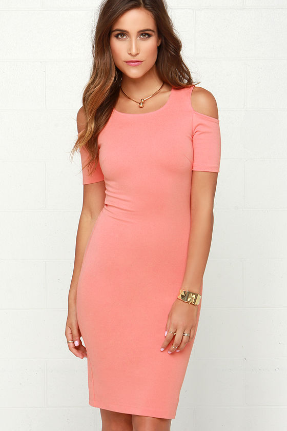 Coral Pink Dress - Bodycon Dress - Midi Dress - $42.00