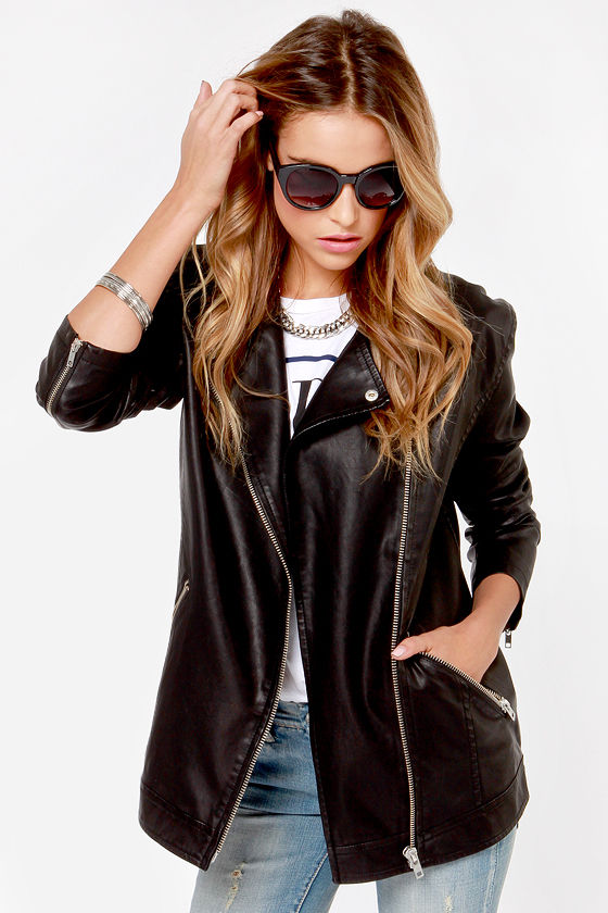 BB Dakota Atleg Black Vegan Leather Jacket at Lulus.com!