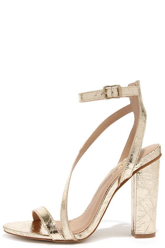 Chic Gold Heels - Ankle Strap Heels - Block Heels - $38.00