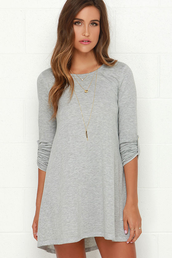 3cf13df18cf3 Cute Light Grey Dress - Swing Dress - Sweater Dress - Long Sleeve Dress -   39.00