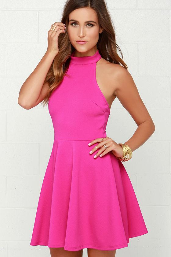 Mink Pink Poetic Justice Dress - Fuchsia Dress - Halter Dress - $71.00