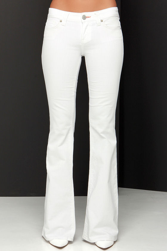 Dittos Christine Jeans - White Jeans - Mid-Rise Jeans - Flare