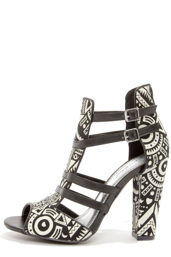 Bamboo Senza 03 Black Print Strappy Heels at Lulus.com!