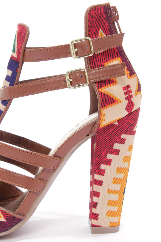 Bamboo Senza 03 Chestnut Multi Print Strappy Heels at Lulus.com!