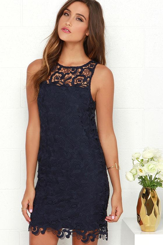 822307a1de0c Black Swan Pearl Dress - Navy Blue Dress - Lace Dress -  95.00