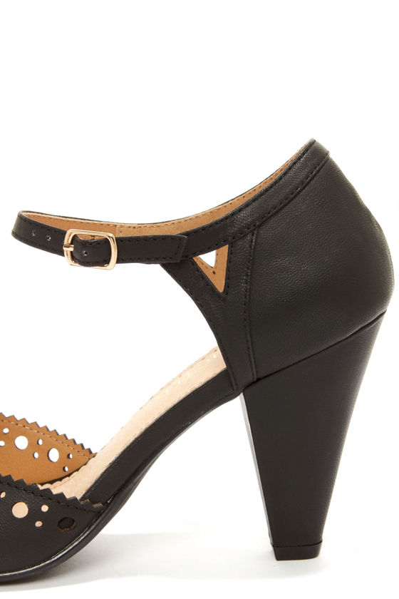 Restricted Darci Black Cutout Peep Toe Heels at Lulus.com!