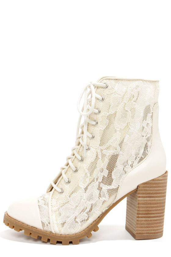 Cute Cream Boots - Lace Boots - Combat Boots - Leather Boots - $103.00