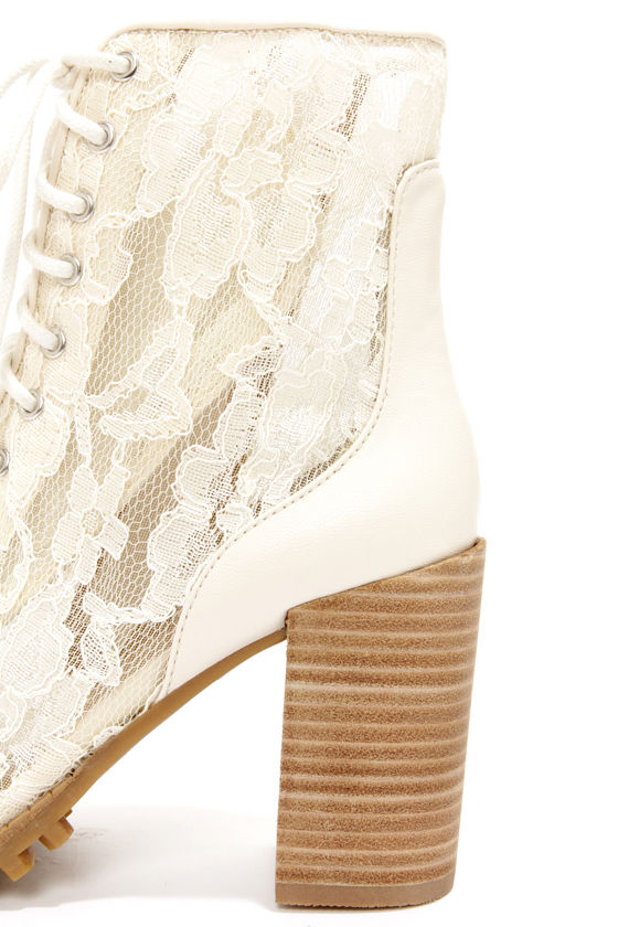 Report Signature Allon Cream Lace High Heel Booties at Lulus.com!