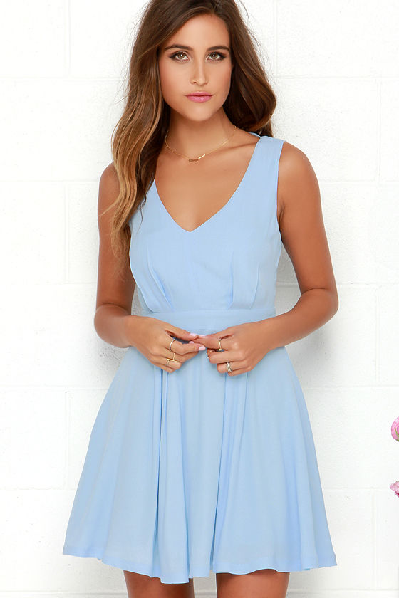 Pretty Light Blue Dress - Skater Dress - Backless Dress - $75.00
