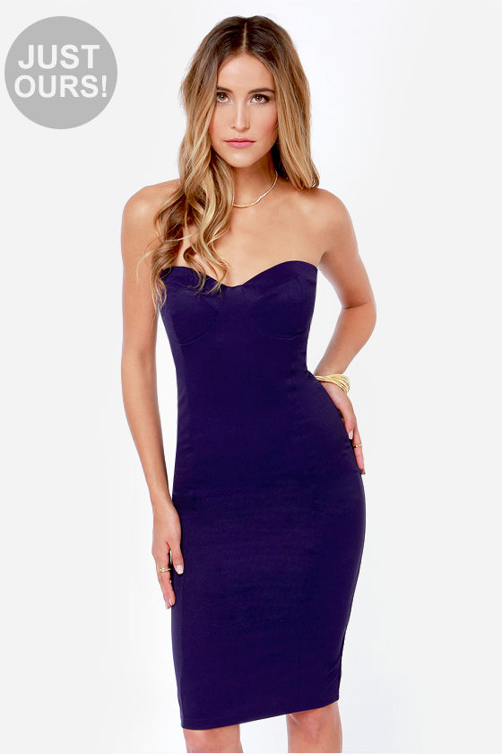 sexy blue dress strapless dress bodycon dress indigo