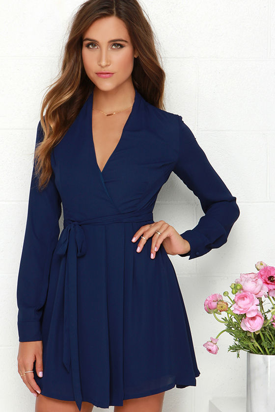 Navy Blue Dress - Long Sleeve Dress - Wrap Dress - $74.00