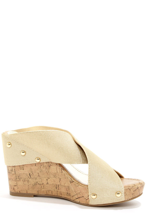 Madden Girl Nautic Gold Wedge Sandals at Lulus.com!