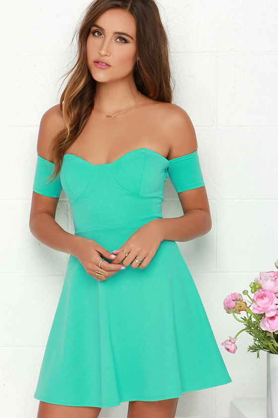 18f36b854d22 Cute Off-the-Shoulder Dress - Mint Green Dress - Skater Dress -  44.00
