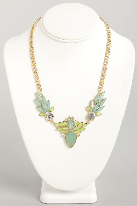 Frond of You Blue Rhinestone Necklace at Lulus.com!