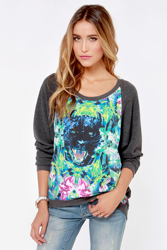 Chaser Soft Kitty Dark Grey Print Sweatshirt at Lulus.com!