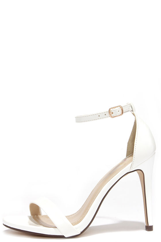 Cute White Heels - Ankle Strap Heels - Single Strap Heels -  24.00