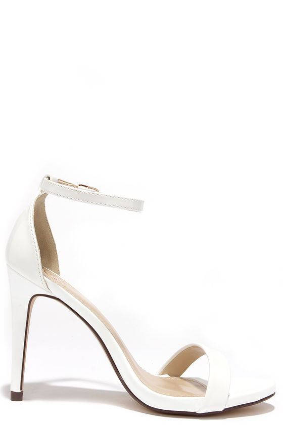 Cute White Heels - Ankle Strap Heels - Single Strap Heels - $24.00