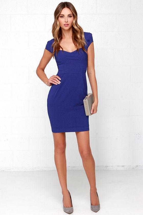 Pretty Royal Blue Dress - Sheath Dress - Cocktail Dress - $48.00