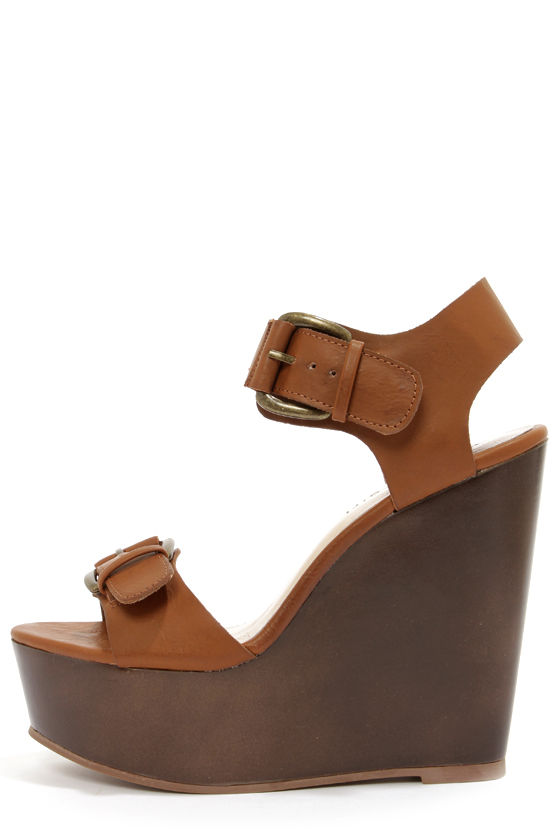 Madden Girl Anergy Cognac Platform Wedge Sandals at Lulus.com!
