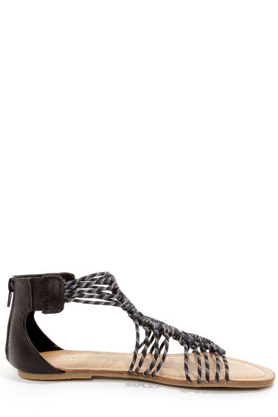 Madden Girl Knots Black Multi Strappy Sandals at Lulus.com!