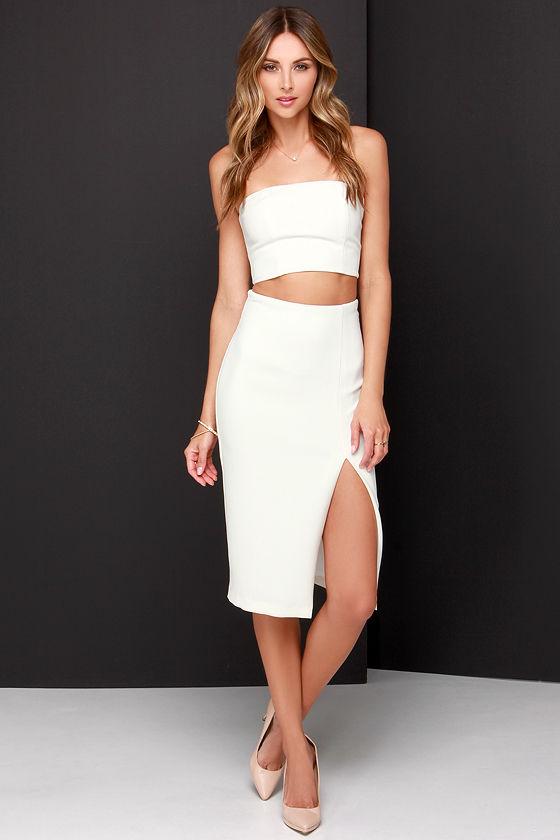 72e8062e9e7 Chic Ivory Dress - Two-Piece Dress - Midi Dress -  91.00