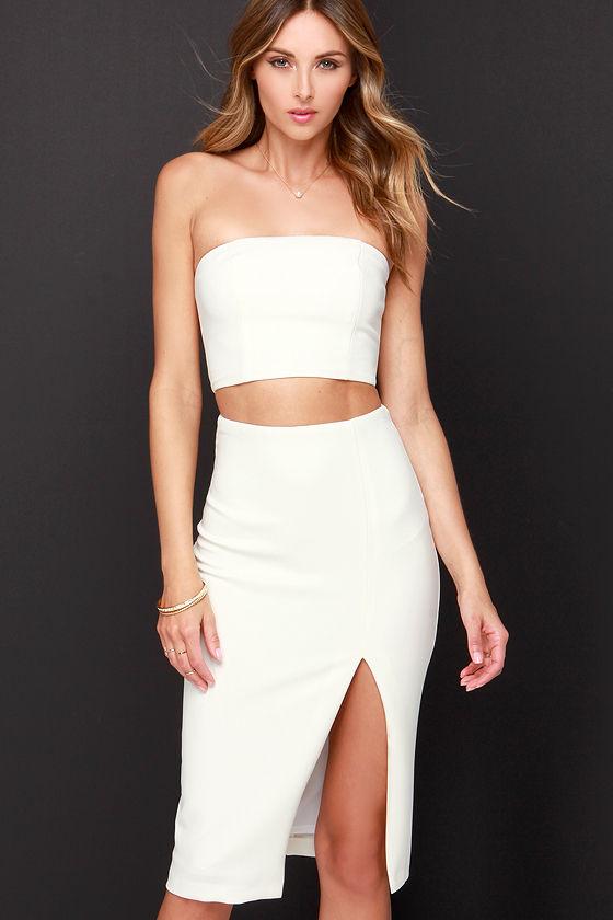 8d50892337a Chic Ivory Dress - Two-Piece Dress - Midi Dress -  91.00