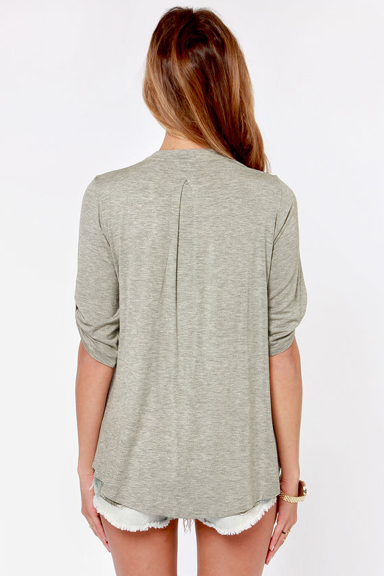 Lucy Love Fairbanks Grey Top at Lulus.com!