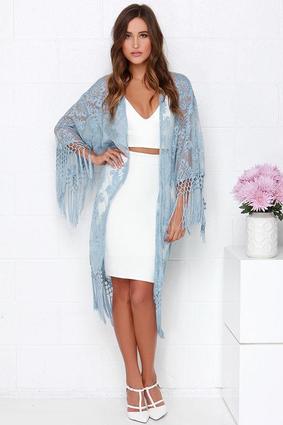 Cute Light Blue Kimono Lace Kimono Fringe Kimono 78 00