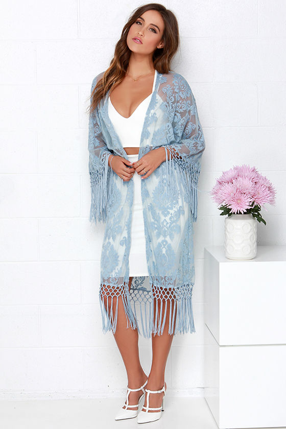Cute Light Blue Kimono - Lace Kimono - Fringe Kimono - $78.00