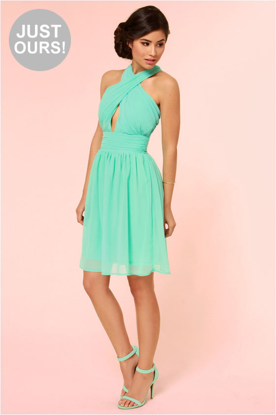 Sexy Green Dress - Halter Dress - Chiffon Dress - Mint Green Dress ...