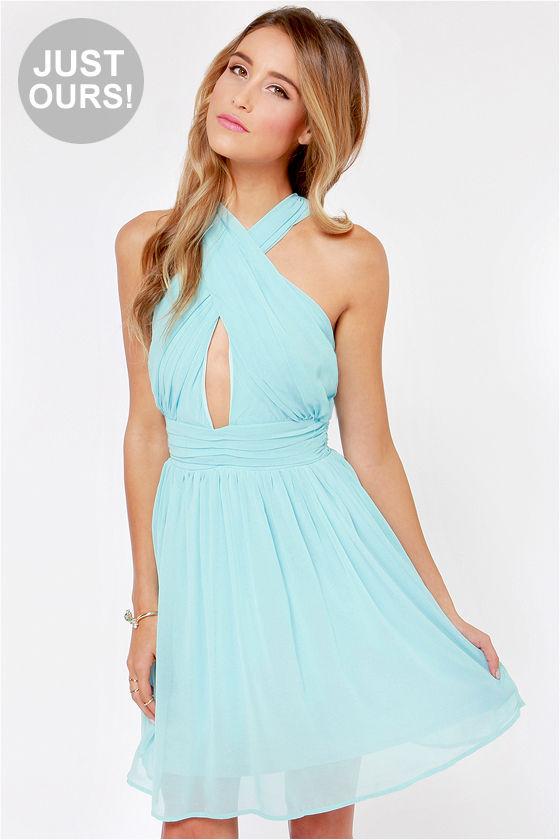 Sexy Blue Dress - Halter Dress - Chiffon Dress - Light Blue Dress ...