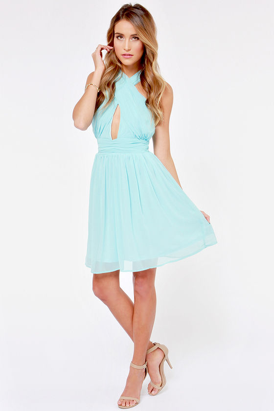LULUS Exclusive This Twist, This Twist Light Blue Halter Dress at Lulus.com!