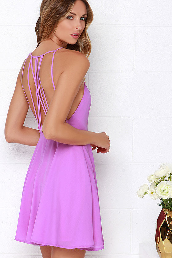 c25e7f9895f Chic Orchid Purple Dress - Backless Dress - Fit and Flare Dress -  47.00