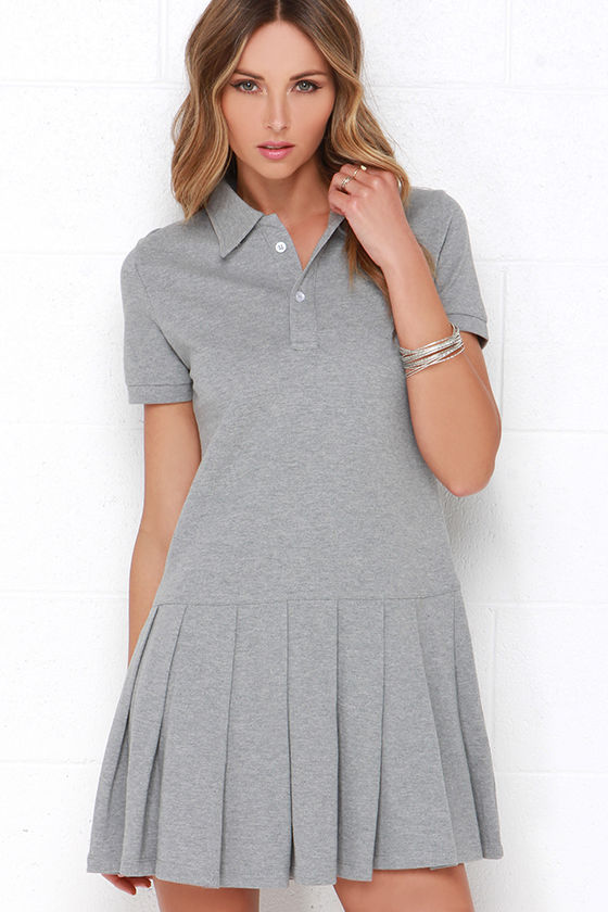 a5d461e50603 Cute Grey Dress - Pleated Dress - Polo Dress -  79.00