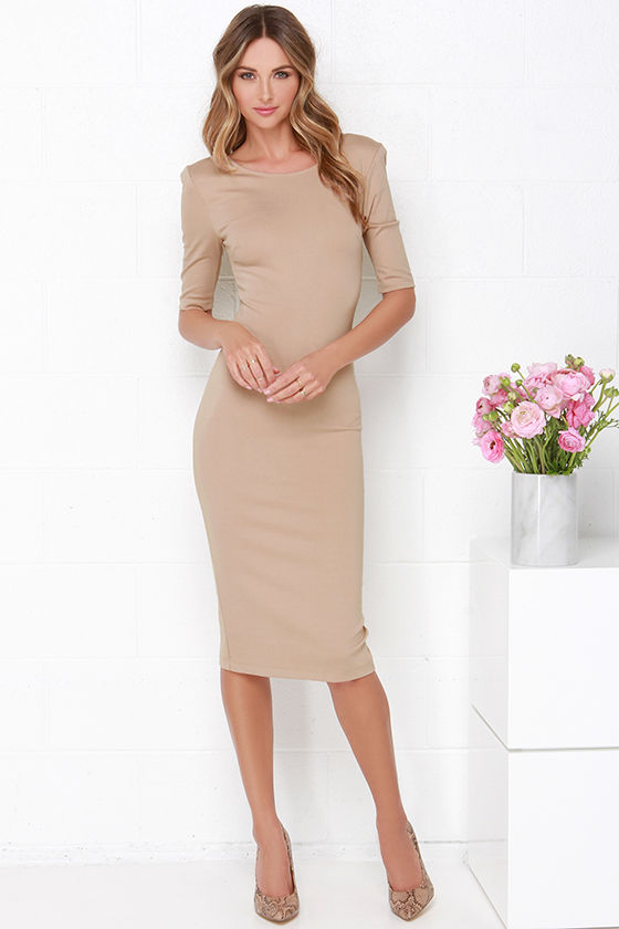 Cute Beige Dress - Midi Dress - Bodycon Dress - Cocktail Dress - $44.00