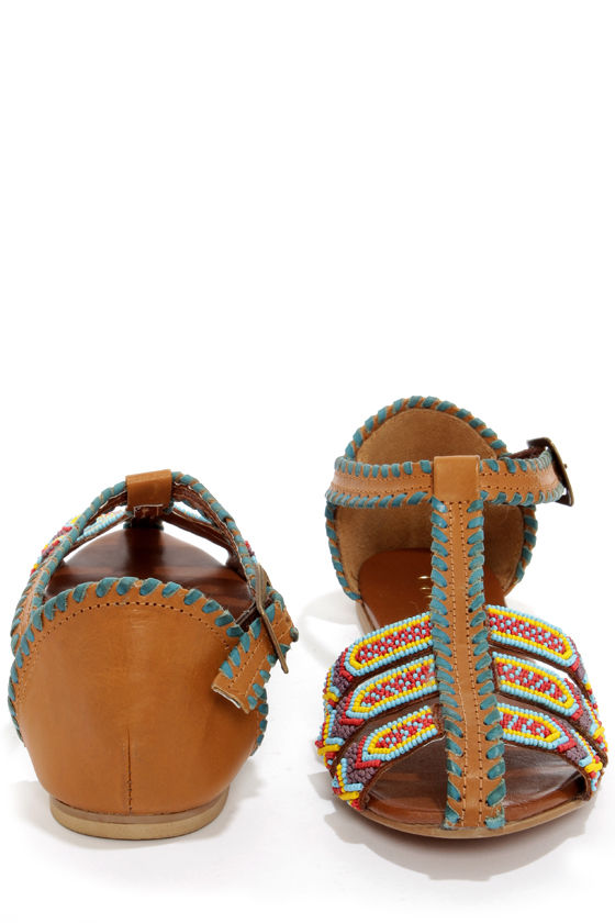 Coconuts Spirit Tan Multi Beaded Leather Sandals at Lulus.com!