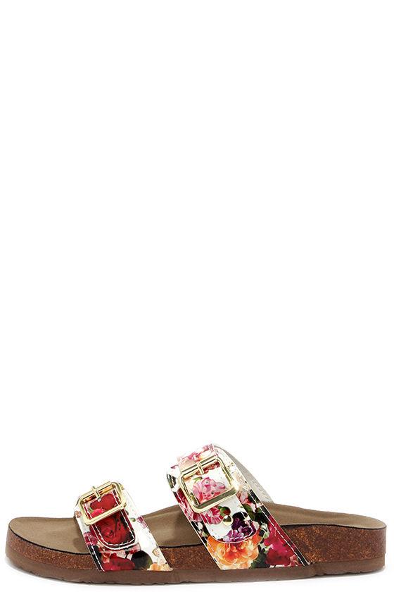 Cute Floral Sandals - Slide Sandals