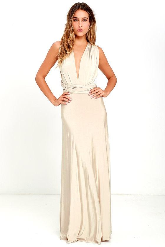 Always Stunning Convertible Beige Maxi Dress 1